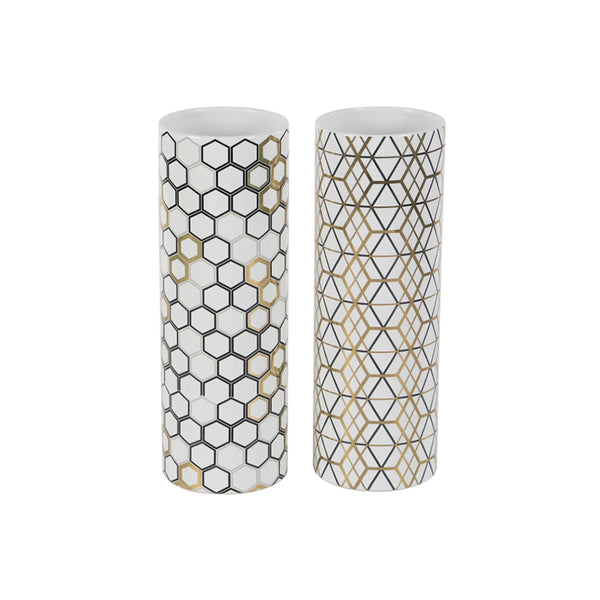White modern ceramic vases with black and gold patterns