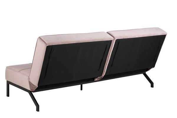 Dusty rose pink modern fabric sofa bed with black metal base