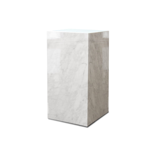 White modern marble end table