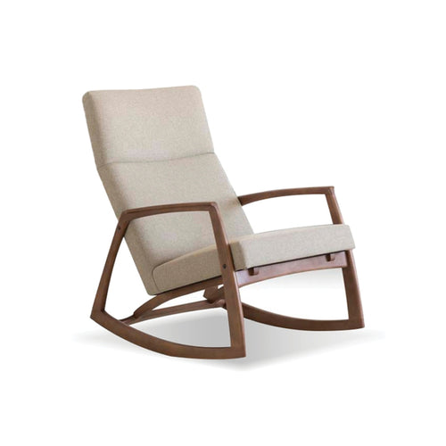 Sand tweed modern fabric rocking chair with walnut frame
