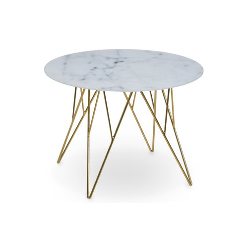 White Marble Modern Glass End Table with Gold Chrome base
