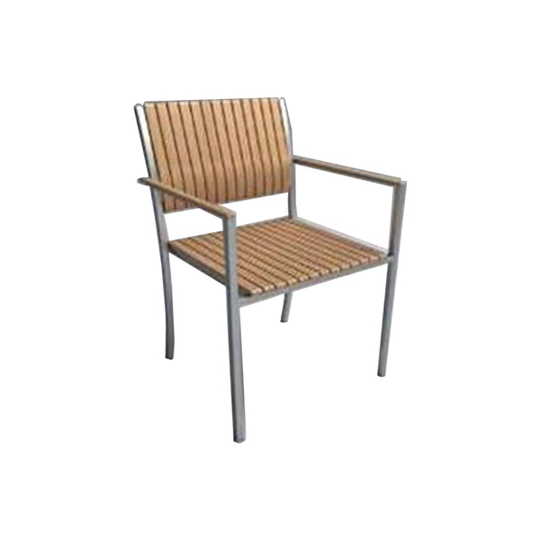 Modern teak outdoor dining arm chair with stainless steel frame