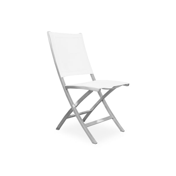 Modern white batyline folding outdoor chair with stainless steel frame