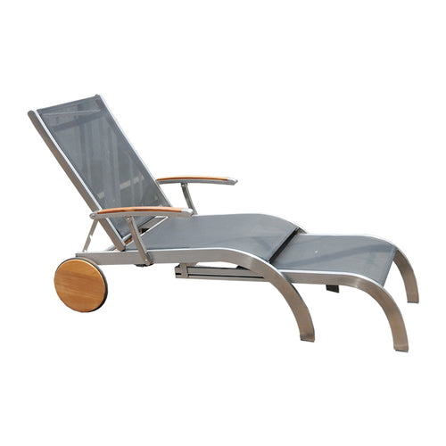 Modern black batyline and stainless steel outdoor lounger