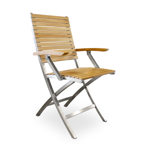 Modern teak outdoor folding arm chair with stainless steel frame
