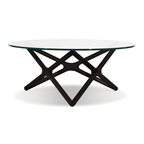 Modern glass coffee table with black wood base