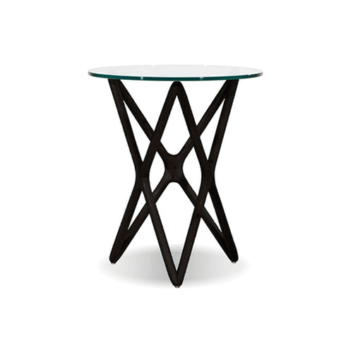 Modern glass end table with black wood base