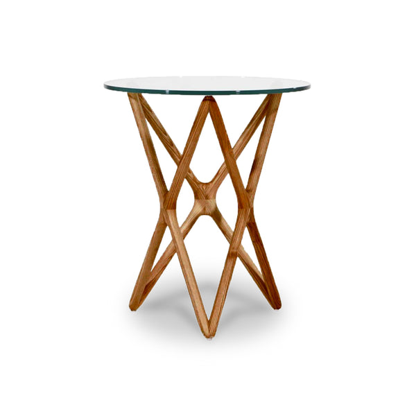 Modern glass end table with walnut base
