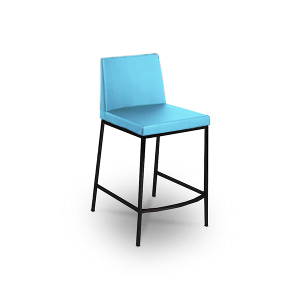 Blue modern fabric counter stool with black metal legs
