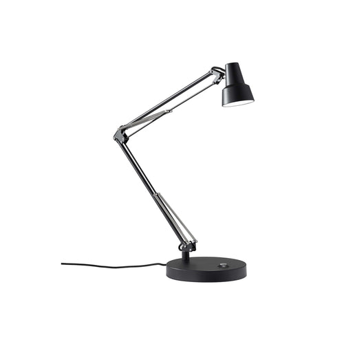 black metal modern desk lamp with touch control and usb charging dock