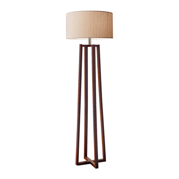 Modern floor lamp with natural linen drum shade and walnut base