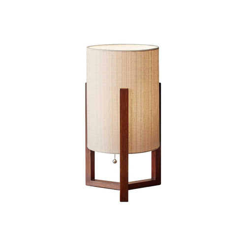 modern table lamp with linen shade and walnut crisscross base