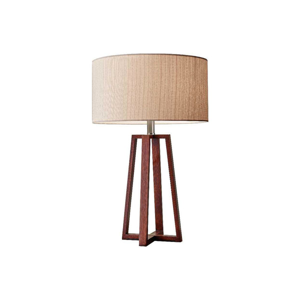 modern table lamp with linen drum shade and walnut base