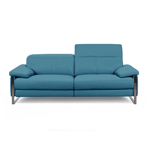 modern turquoise blue fabric power reclining sectional with USB port