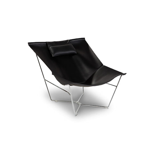 Black modern leather chair with chrome base