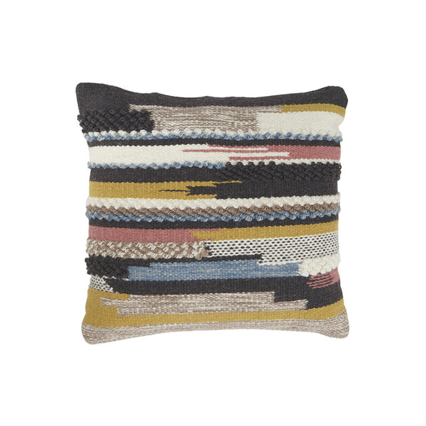 Black, white, mustard, pink, and blue modern toss pillow