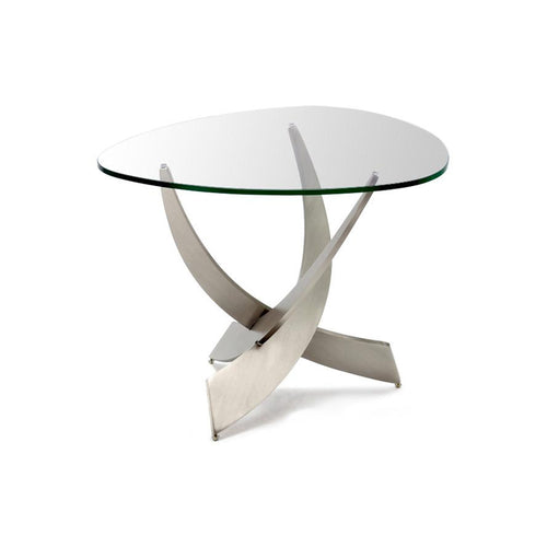 Modern glass end table with metal base
