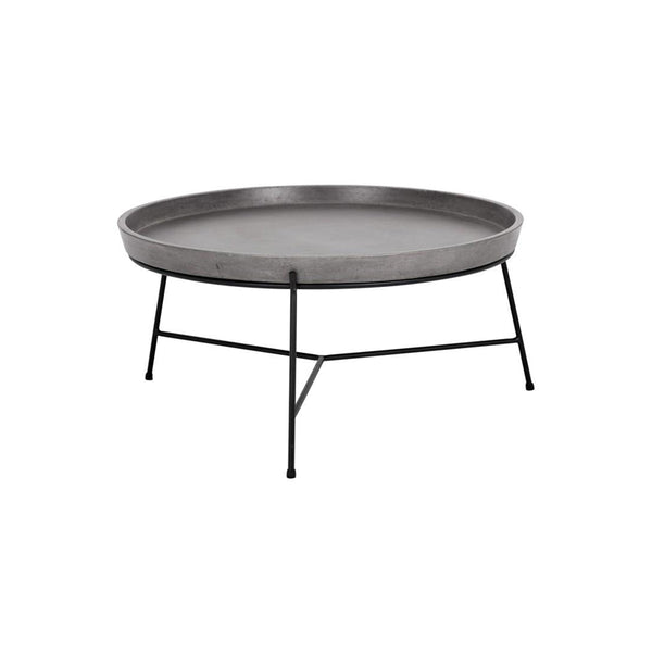 Concrete round modern coffee table with black metal frame with tray-like top