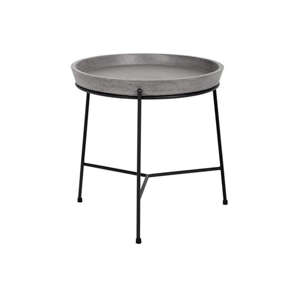 Concrete round modern end table with black metal frame with tray-like top