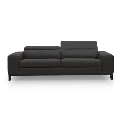 modern black fabric sofa with dark wood legs and ratcheting headrests