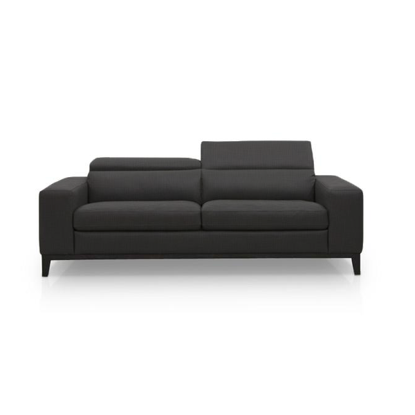 modern black fabric loveseat with dark wood legs and ratcheting headrests
