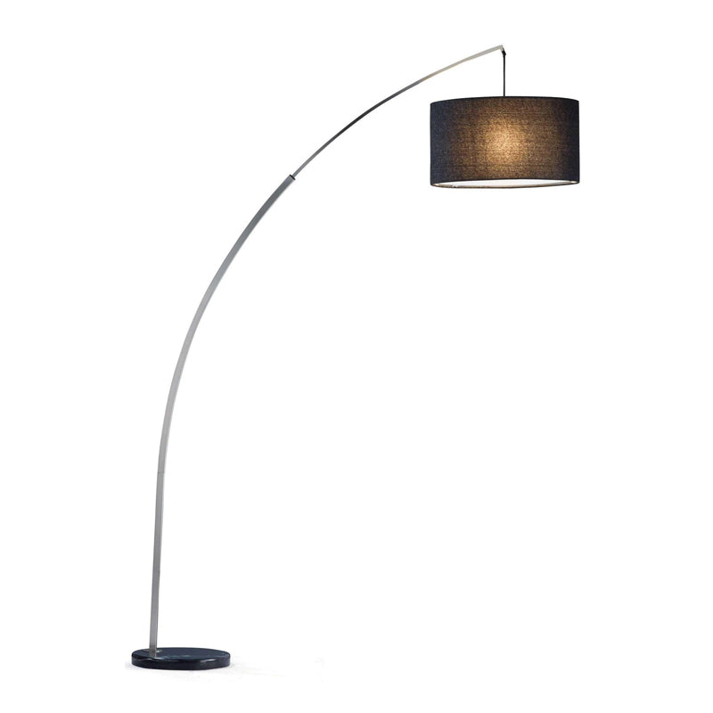 Black modern extentable arc lamp with charcoal tweed shade and black marble base