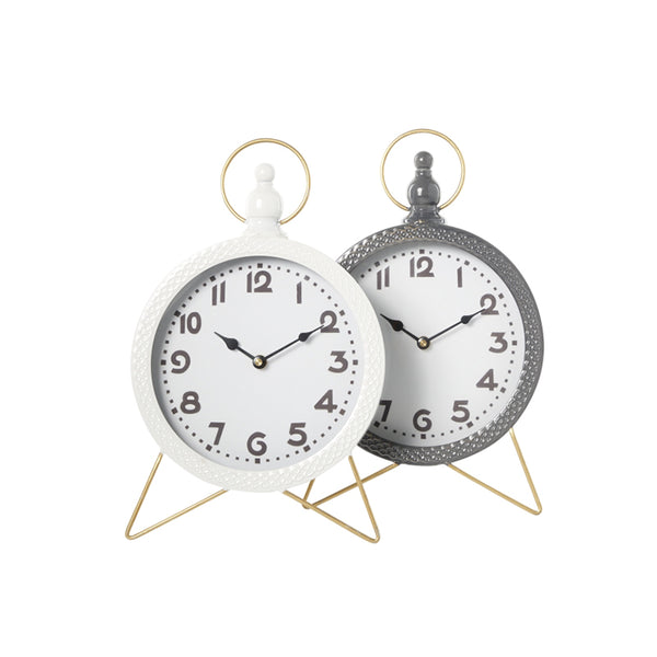 White and Grey modern round table clocks