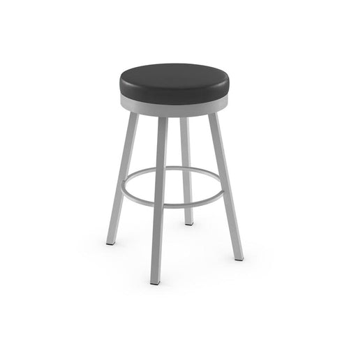 Black modern upholstered swivel counter stool with metal base
