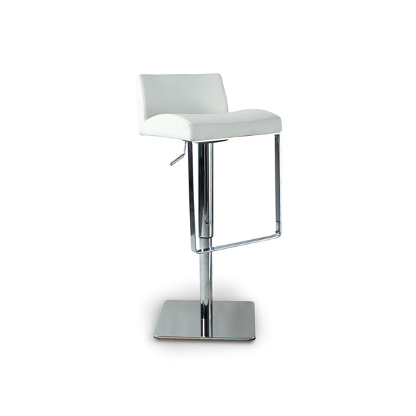 Grey modern fabric bar stool with adjustable brushed steel base