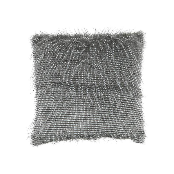 Black modern faux feather fur toss pillow