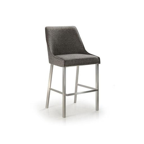 Dark grey modern upholstered counter stool with metal legs