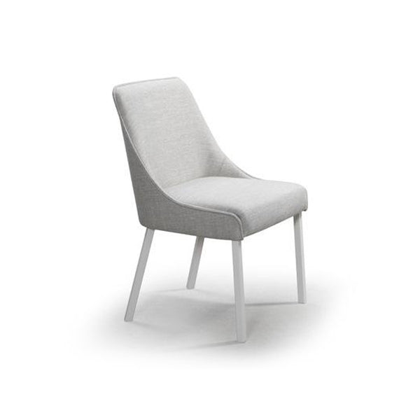 Light grey modern fabric dining chair with metal legs