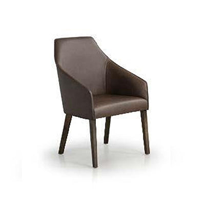 Dark brown modern leather dining chair with wood legs