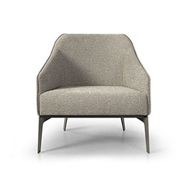 Beige modern upholstered lounge chair with metal legs