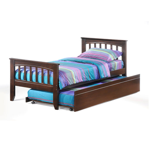 Modern chocolate brown wood twin bed