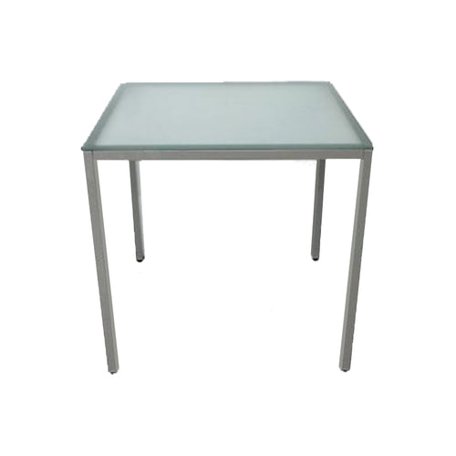Modern frosted glass outdoor dining table with stainless steel frame