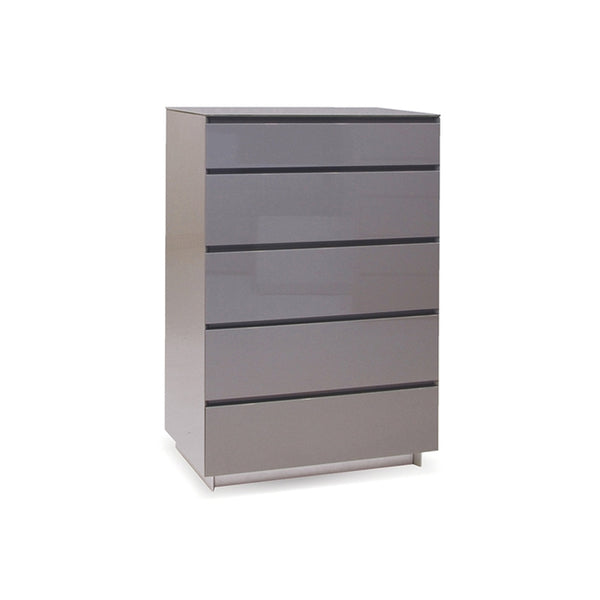 Grey gloss modern chest with brushed stainless steel legs