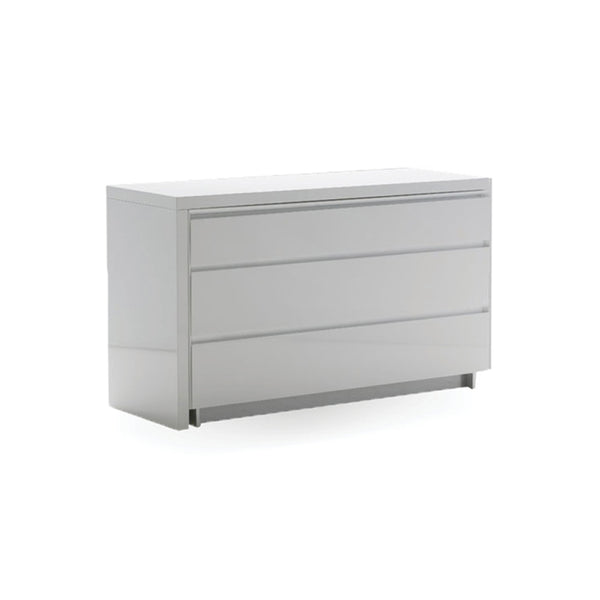 White gloss modern double dresser with extension desk and brushed stainless steel legs