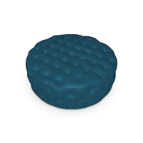 Teal modern round leather ottoman with button tufting