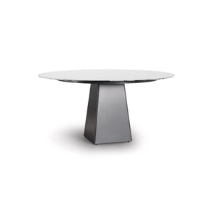 Porcelain modern round dining table with brushed steel base