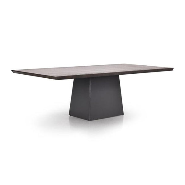 Wood modern dining table with grey powder coat metal base