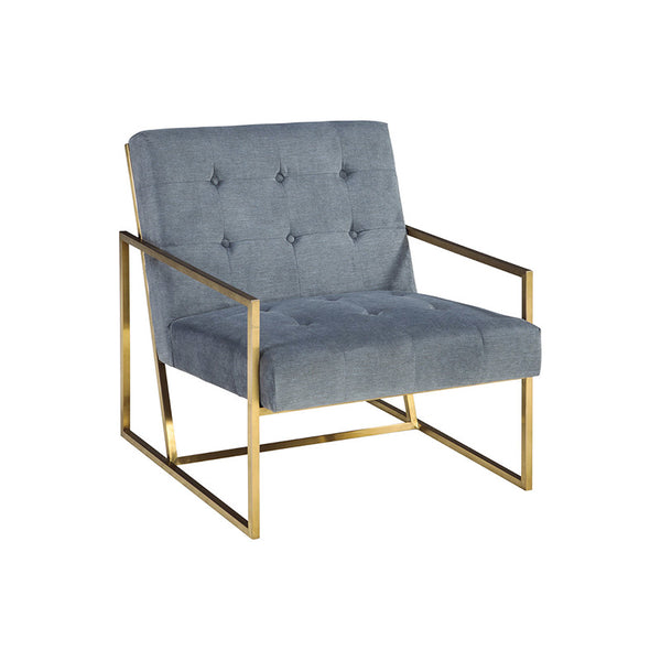 Blue grey modern fabric accent chair with gold frame