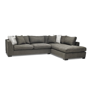Grey modern fabric sectional, right hand facing