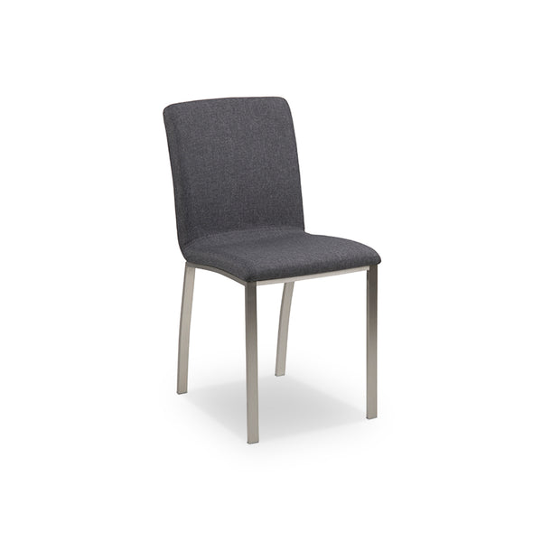 Dark grey modern fabric dining chair with brushed stainless steel legs