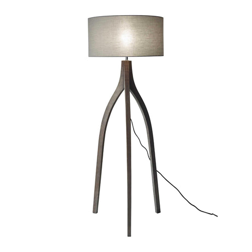 Black wash pine wood modern height adjustable tripod floor lamp with grey shade