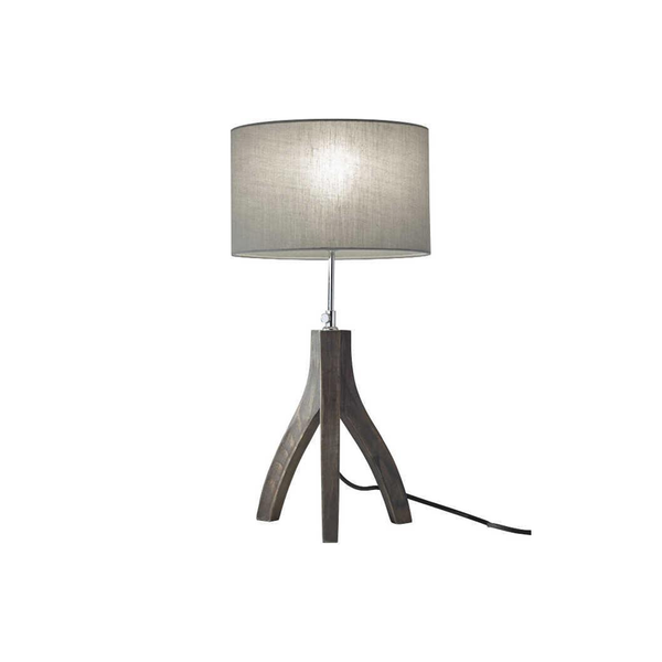 Black wash pine wood modern height adjustable tripod table lamp with grey shade