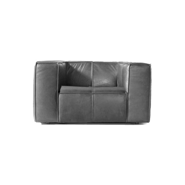 Dark grey modern leather arm chair