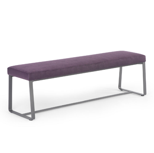 Grey modern upholstered bench with metal frame