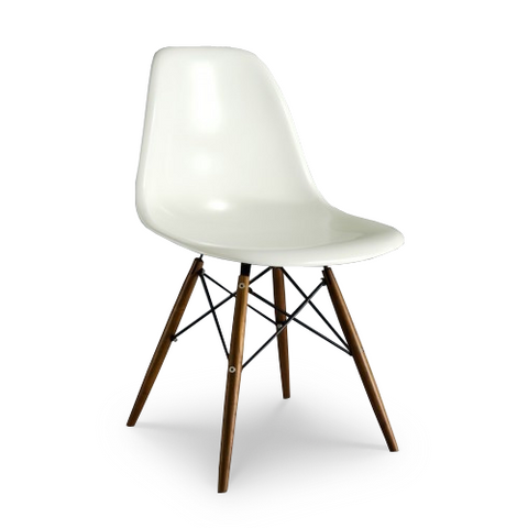 White modern plastic dining chair with wood legs