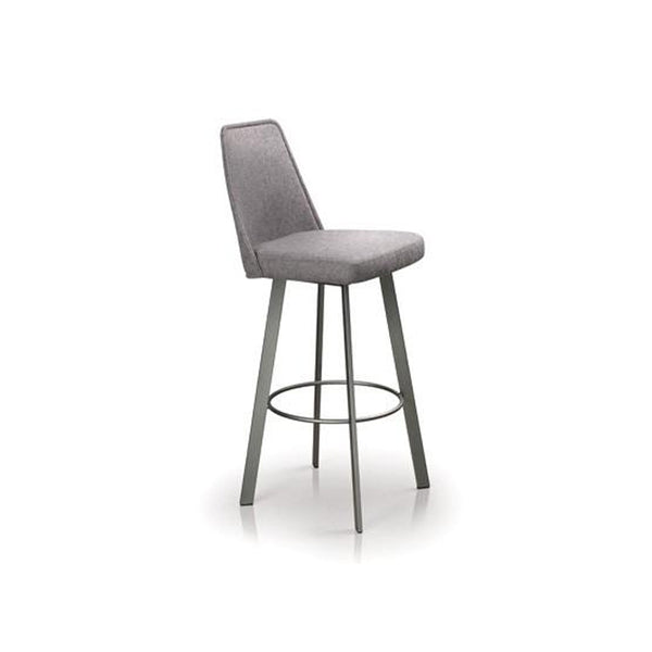 Grey modern upholstered counter stool with metal legs